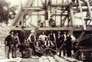 Brenner and his carpenter team - DBV/Inventaire Alsace - Haut-Koenigsbourg castle, Alsace, France
